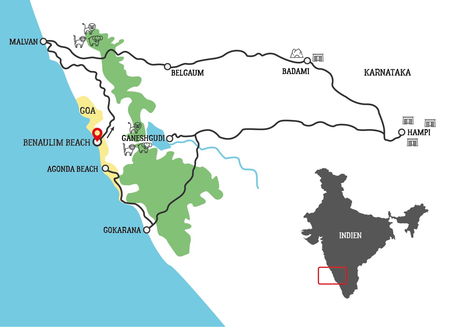 Classic Südindien und Goa Motorradtour Karte