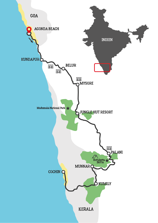 Von Goa bis Kerala Motorradtour Karte