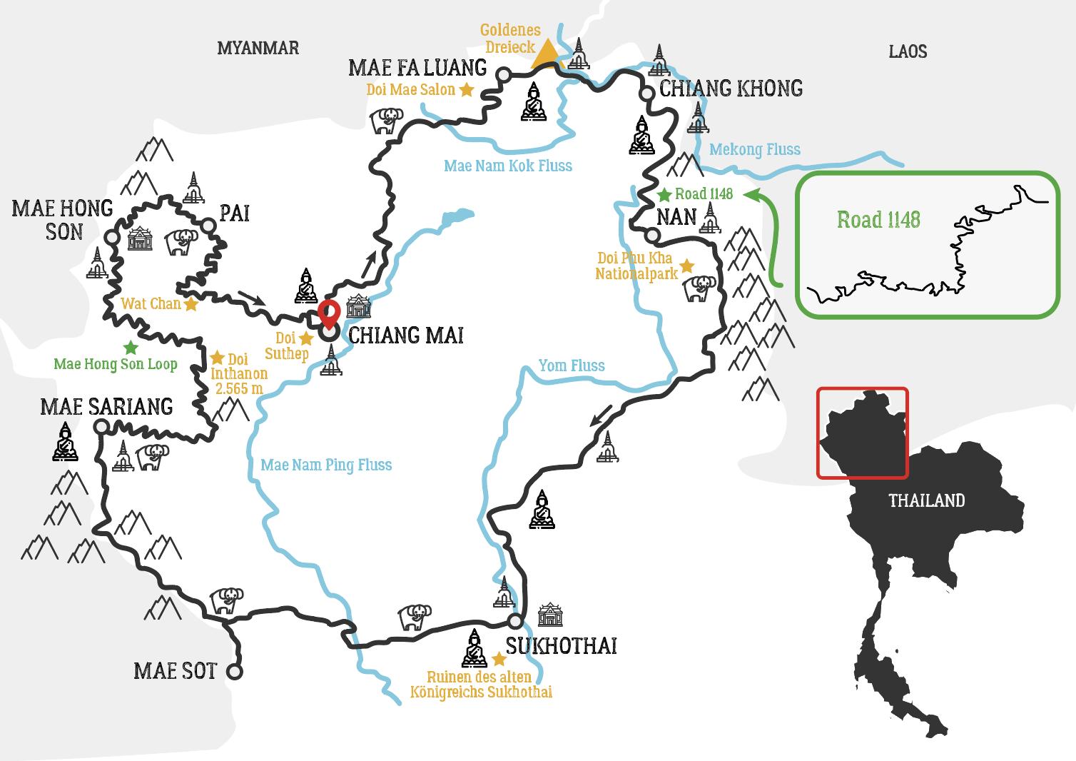 Nord Thailand Motorradtour karte