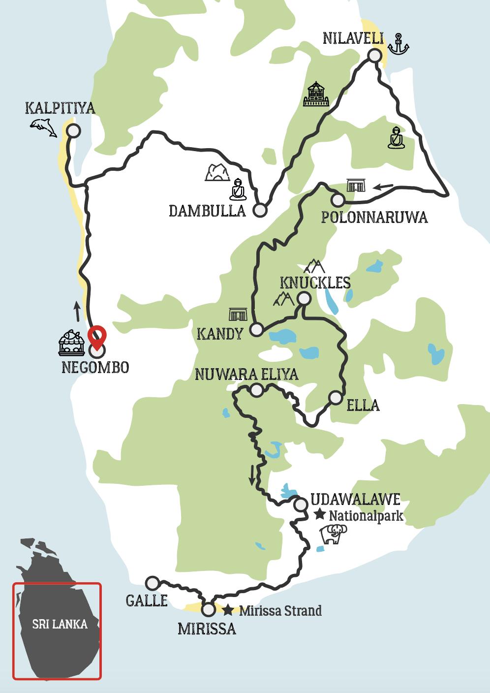 Sri Lanka motorradtour karte