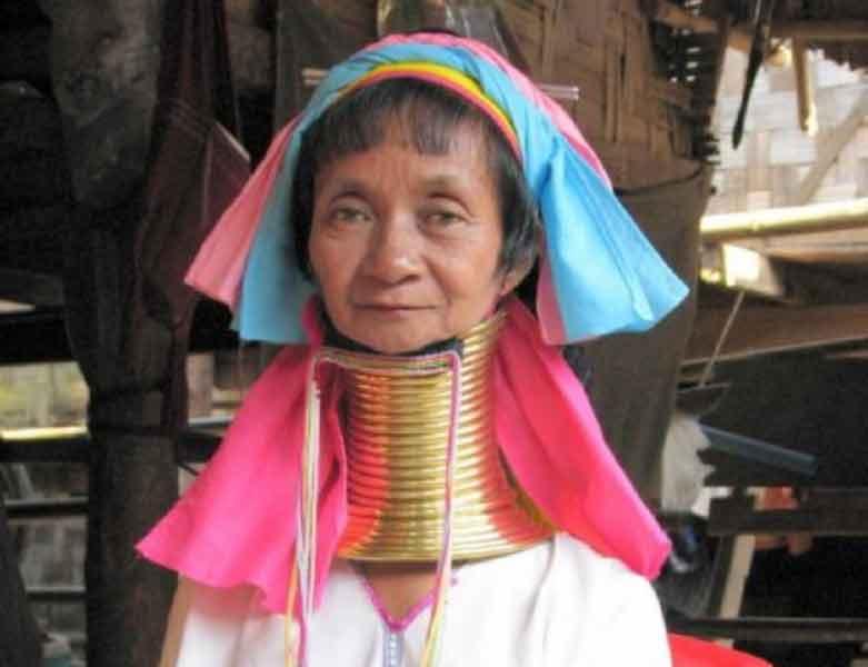 Langhals frau in Nord Thailand