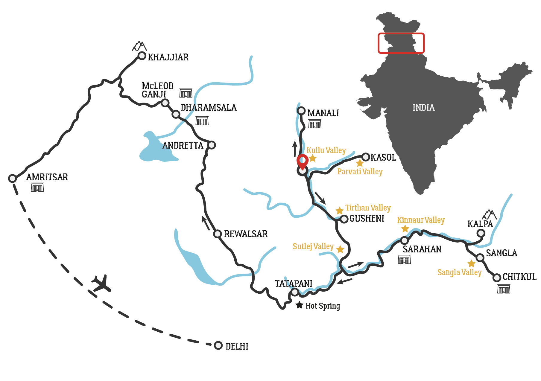 Golden Himalaya Motorradtour Karte